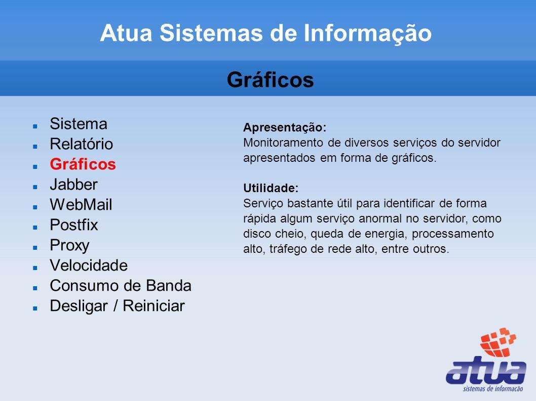 Gráficos Sistema Relatório Gráficos Jabber WebMail Postfix Proxy Velocidade Consumo de Banda Desligar / Reiniciar Apresentação: Monitoramento de diversos serviços do servidor apresentados em forma de gráficos.
