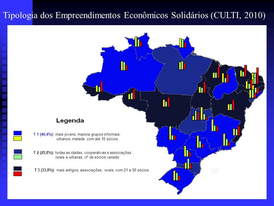 Tipologia dos Empreendimentos Econômicos Solidários (CULTI, 2010) Aspecto: Organização T 1 (40,4%): mais jovens, maioria grupos informais, urbanos, me