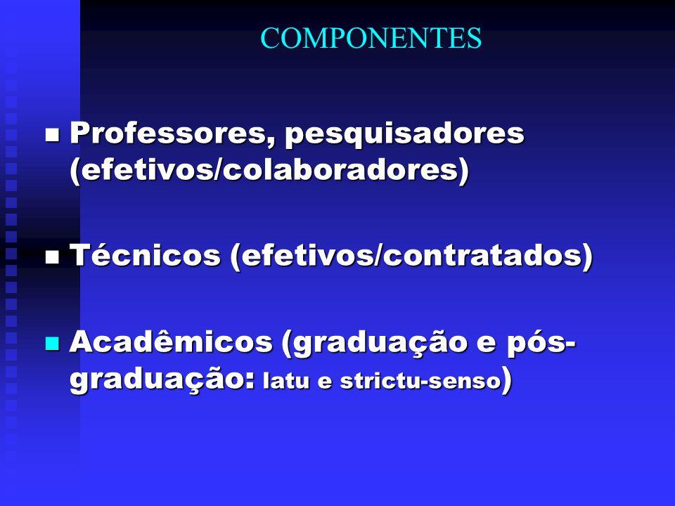 COMPONENTES Professores, pesquisadores (efetivos/colaboradores) Professores, pesquisadores (efetivos/colaboradores) Técnicos (efetivos/contratados) Té