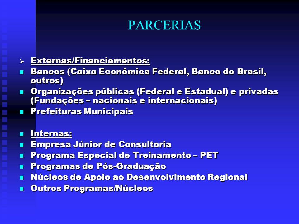 PARCERIAS  Externas/Financiamentos: Bancos (Caixa Econômica Federal, Banco do Brasil, outros) Bancos (Caixa Econômica Federal, Banco do Brasil, outro