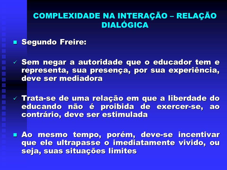COMPLEXIDADE NA INTERAÇÃO – RELAÇÃO DIALÓGICA Segundo Freire: Segundo Freire: Sem negar a autoridade que o educador tem e representa, sua presença, po