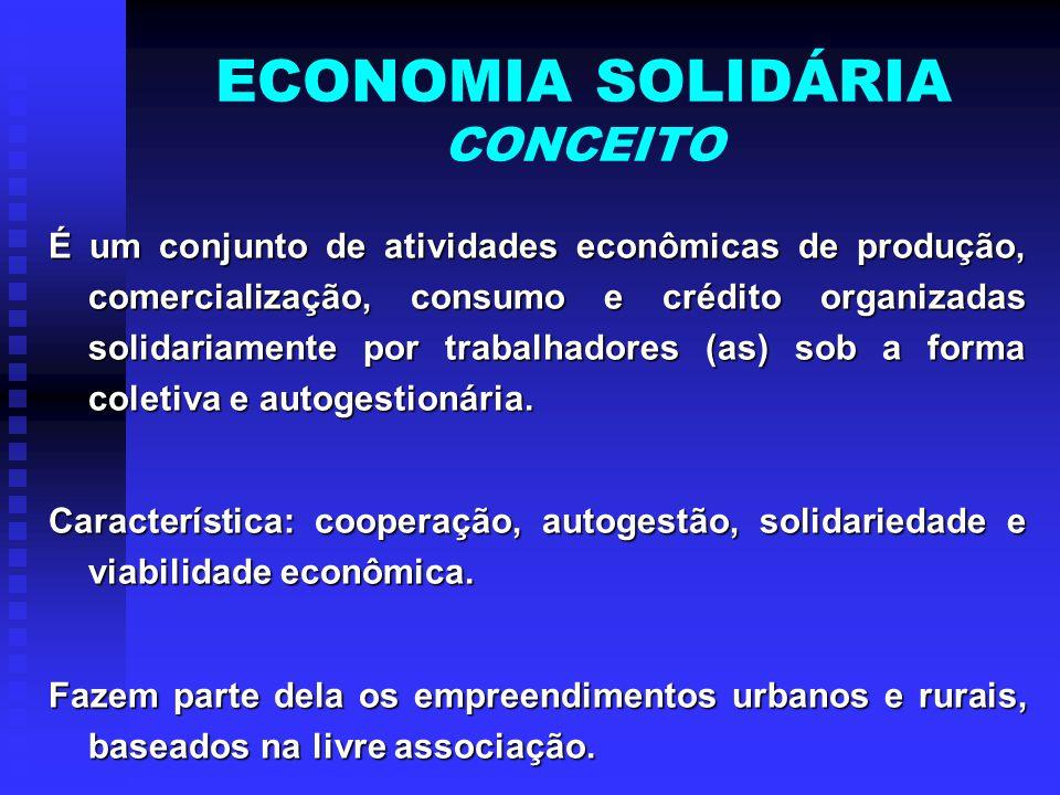 ECONOMIA SOLIDÁRIA CONCEITO É um conjunto de atividades econômicas de produção, comercialização, consumo e crédito organizadas solidariamente por trab