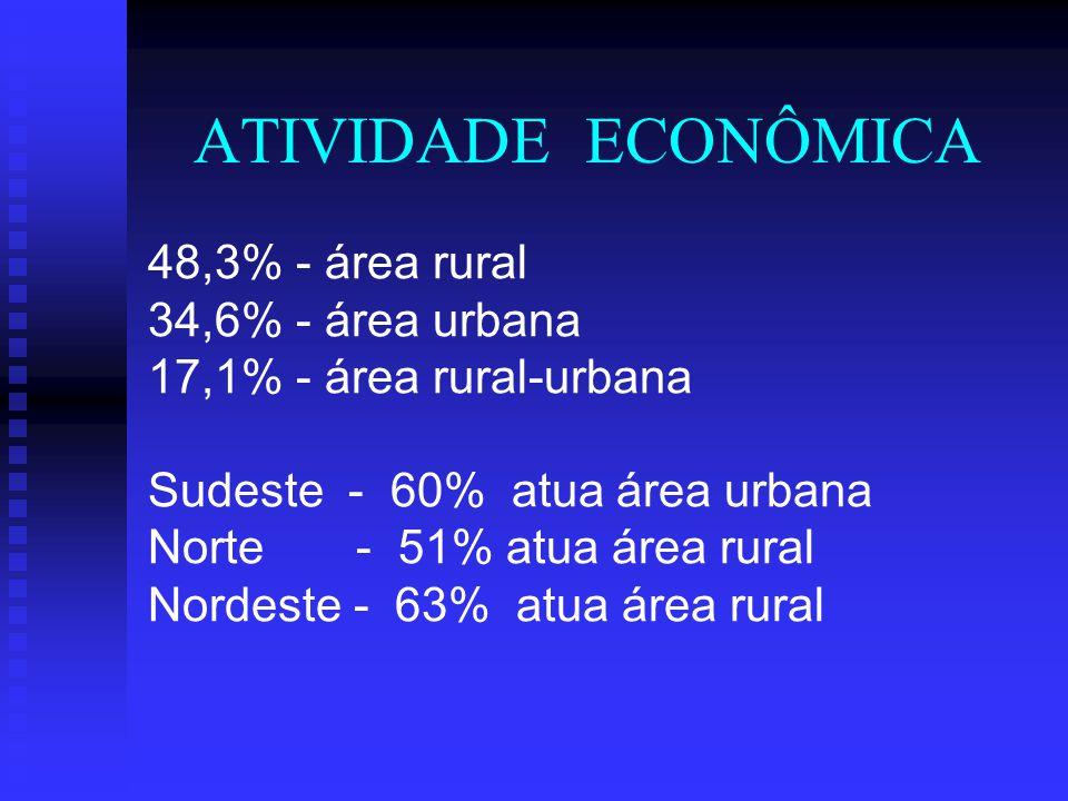 ATIVIDADE ECONÔMICA 48,3% - área rural 34,6% - área urbana 17,1% - área rural-urbana Sudeste - 60% atua área urbana Norte - 51% atua área rural Nordes