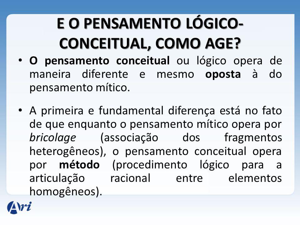 E O PENSAMENTO LÓGICO- CONCEITUAL, COMO AGE? O pensamento conceitual ou lógico opera de maneira diferente e mesmo oposta à do pensamento mítico. A pri