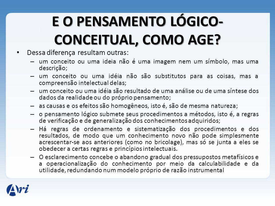 E O PENSAMENTO LÓGICO- CONCEITUAL, COMO AGE? Dessa diferença resultam outras: – um conceito ou uma ideia não é uma imagem nem um símbolo, mas uma desc
