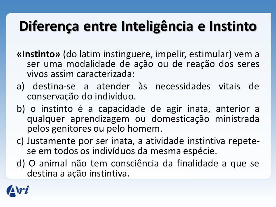 Diferença entre Inteligência e Instinto «Instinto» (do latim instinguere, impelir, estimular) vem a ser uma modalidade de ação ou de reação dos seres
