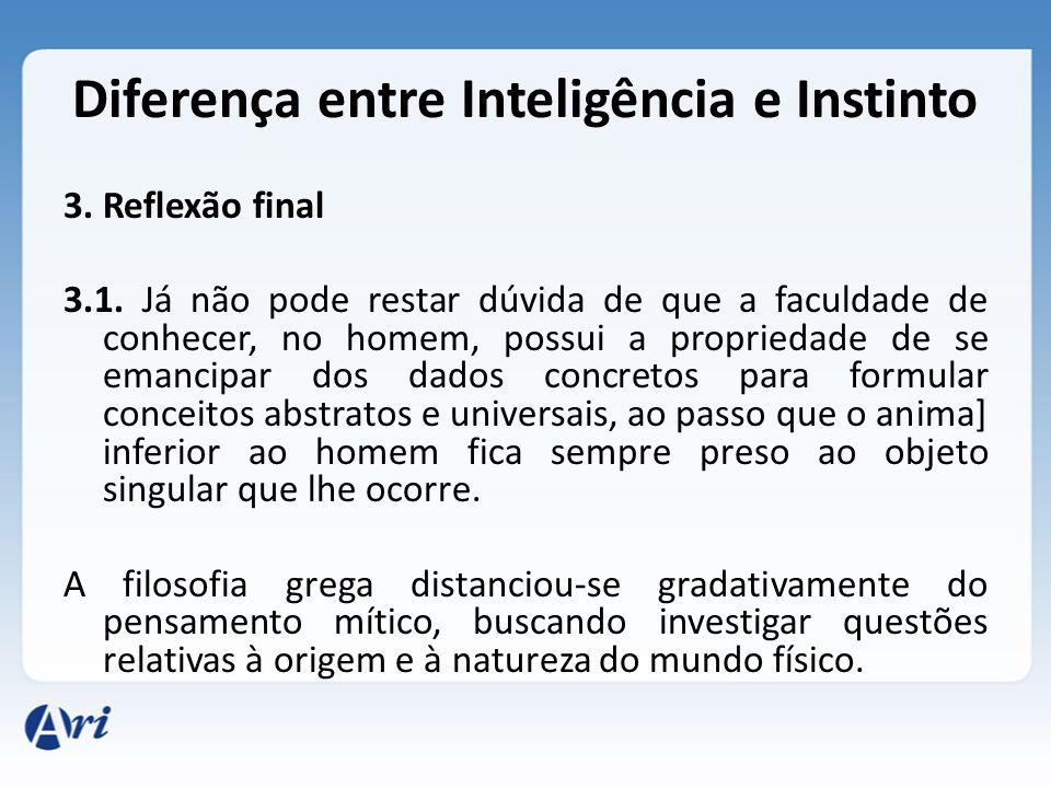 Diferença entre Inteligência e Instinto 3. Reflexão final 3.1. Já não pode restar dúvida de que a faculdade de conhecer, no homem, possui a propriedad