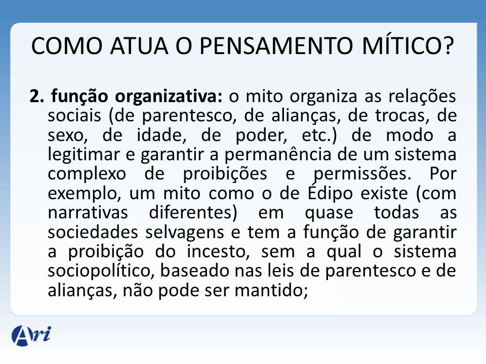 COMO ATUA O PENSAMENTO MÍTICO? 2. função organizativa: o mito organiza as relações sociais (de parentesco, de alianças, de trocas, de sexo, de idade,