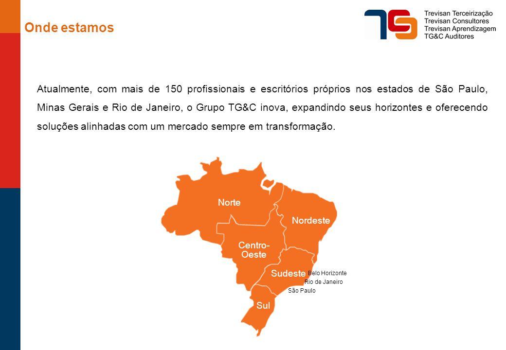 Onde estamos Atualmente, com mais de 150 profissionais e escritórios próprios nos estados de São Paulo, Minas Gerais e Rio de Janeiro, o Grupo TG&C inova, expandindo seus horizontes e oferecendo soluções alinhadas com um mercado sempre em transformação.