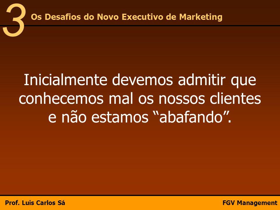 """Inicialmente devemos admitir que conhecemos mal os nossos clientes e não estamos """"abafando"""". Os Desafios do Novo Executivo de Marketing 3 Prof. Luis C"""
