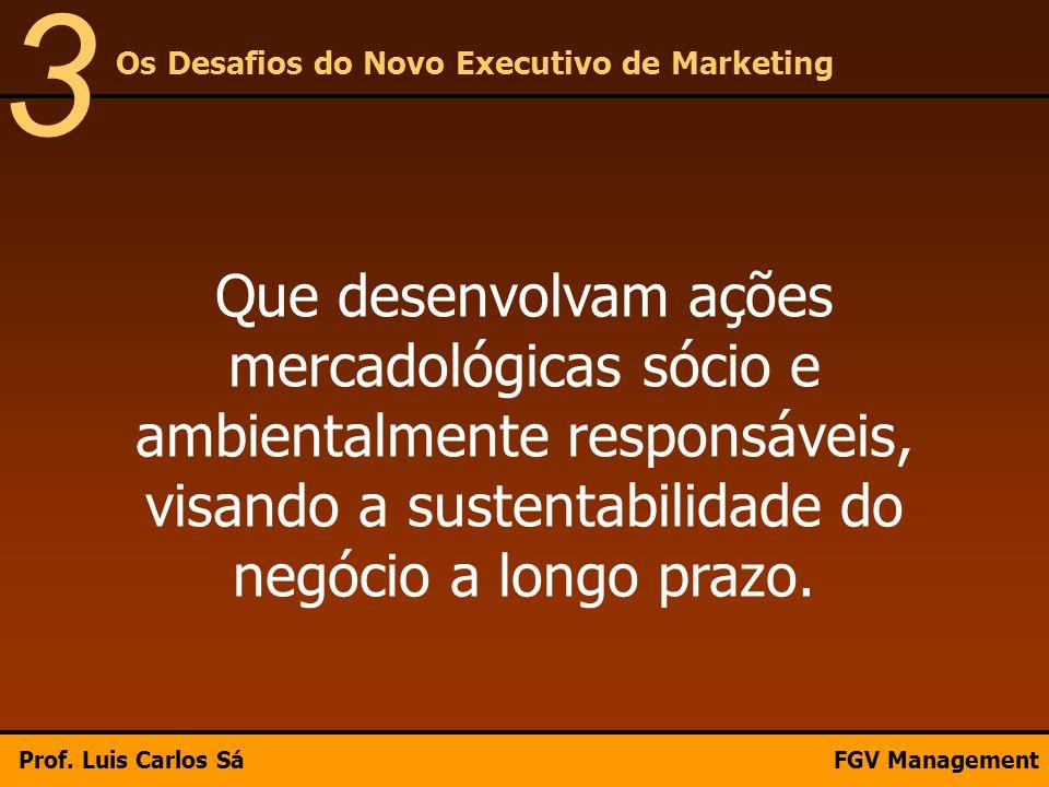 Que desenvolvam ações mercadológicas sócio e ambientalmente responsáveis, visando a sustentabilidade do negócio a longo prazo. Os Desafios do Novo Exe