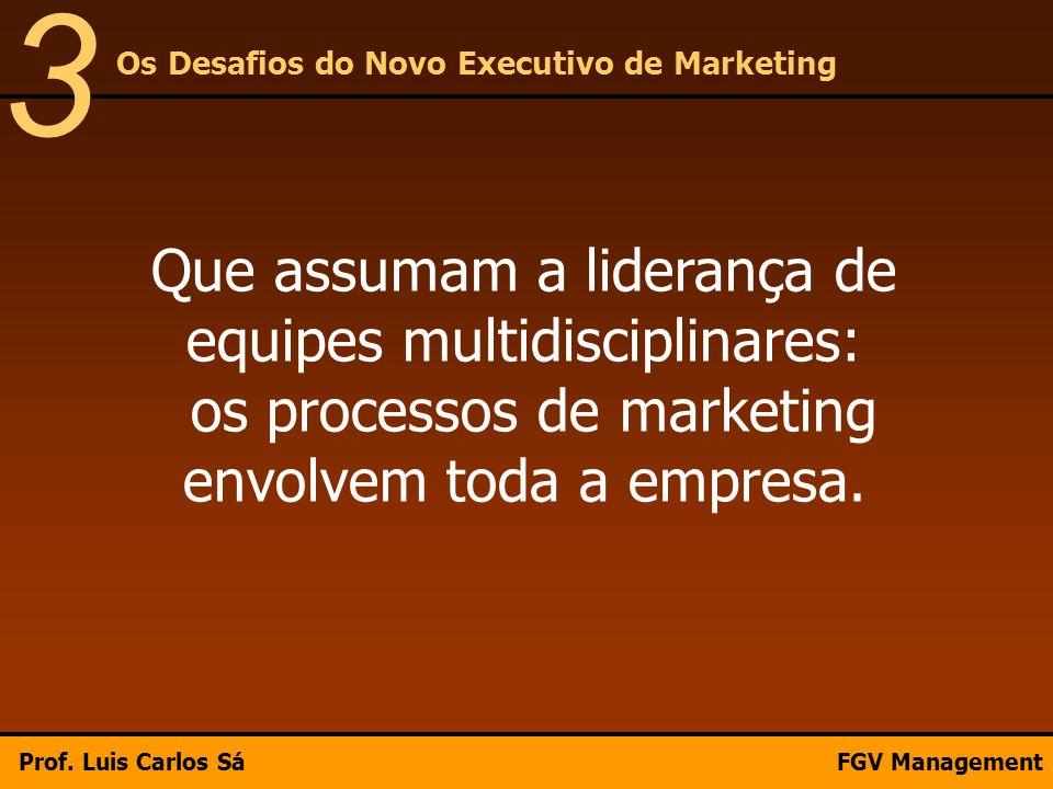 Que assumam a liderança de equipes multidisciplinares: os processos de marketing envolvem toda a empresa. Os Desafios do Novo Executivo de Marketing 3