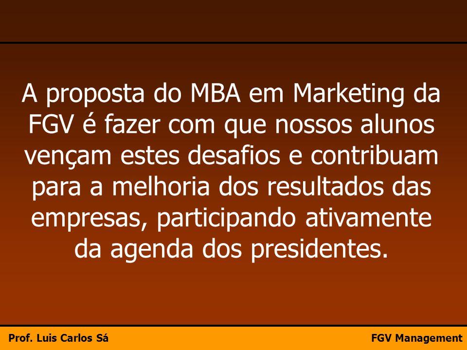 A proposta do MBA em Marketing da FGV é fazer com que nossos alunos vençam estes desafios e contribuam para a melhoria dos resultados das empresas, pa