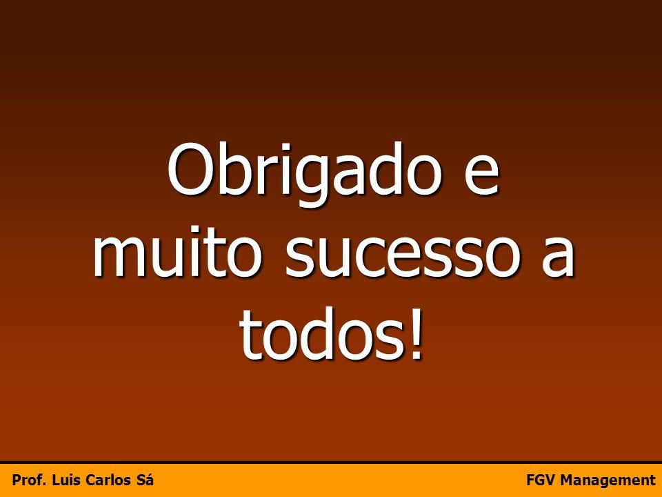 Obrigado e muito sucesso a todos! Prof. Luis Carlos SáFGV Management