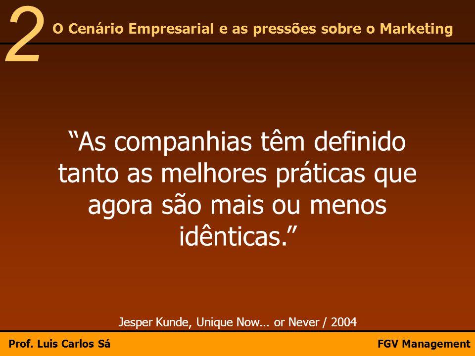 """""""As companhias têm definido tanto as melhores práticas que agora são mais ou menos idênticas."""" Jesper Kunde, Unique Now... or Never / 2004 O Cenário E"""