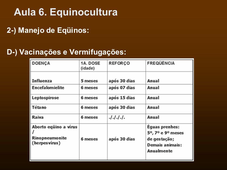 Aula 6. Equinocultura 2-) Manejo de Eqüinos: D-) Vacinações e Vermifugações: