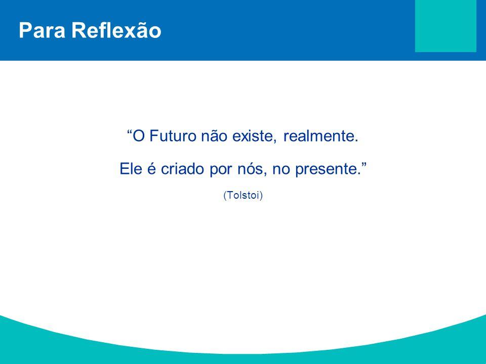 """Para Reflexão """"O Futuro não existe, realmente. Ele é criado por nós, no presente."""" (Tolstoi)"""