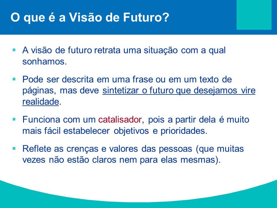 O que é a Visão de Futuro?  A visão de futuro retrata uma situação com a qual sonhamos.  Pode ser descrita em uma frase ou em um texto de páginas, m