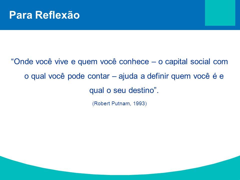 """Para Reflexão """"Onde você vive e quem você conhece – o capital social com o qual você pode contar – ajuda a definir quem você é e qual o seu destino""""."""