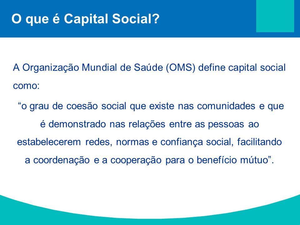 """O que é Capital Social? A Organização Mundial de Saúde (OMS) define capital social como: """"o grau de coesão social que existe nas comunidades e que é d"""