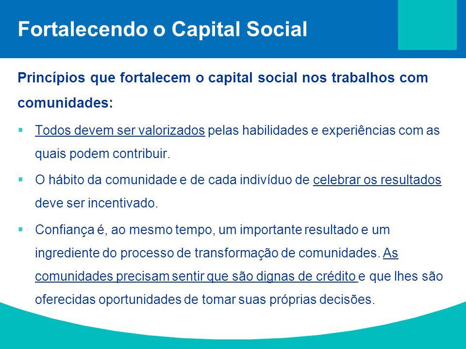 Fortalecendo o Capital Social Princípios que fortalecem o capital social nos trabalhos com comunidades:  Todos devem ser valorizados pelas habilidade