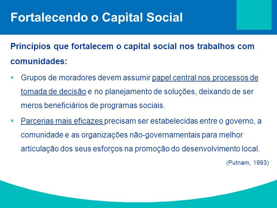 Fortalecendo o Capital Social Princípios que fortalecem o capital social nos trabalhos com comunidades:  Grupos de moradores devem assumir papel cent