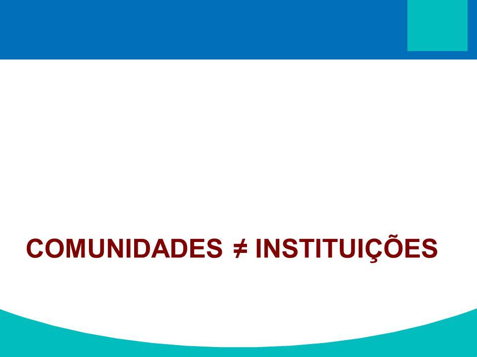 COMUNIDADES ≠ INSTITUIÇÕES