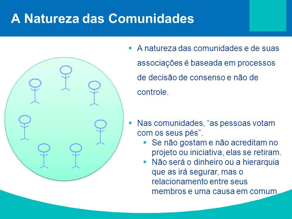 A Natureza das Comunidades  A natureza das comunidades e de suas associações é baseada em processos de decisão de consenso e não de controle.  Nas c