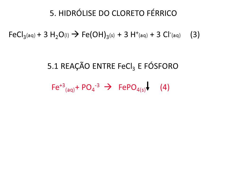 5. HIDRÓLISE DO CLORETO FÉRRICO FeCl 3 (aq) + 3 H 2 O (l)  Fe(OH) 3 (s) + 3 H + (aq) + 3 Cl - (aq) (3) 5.1 REAÇÃO ENTRE FeCl 3 E FÓSFORO Fe +3 (aq) +