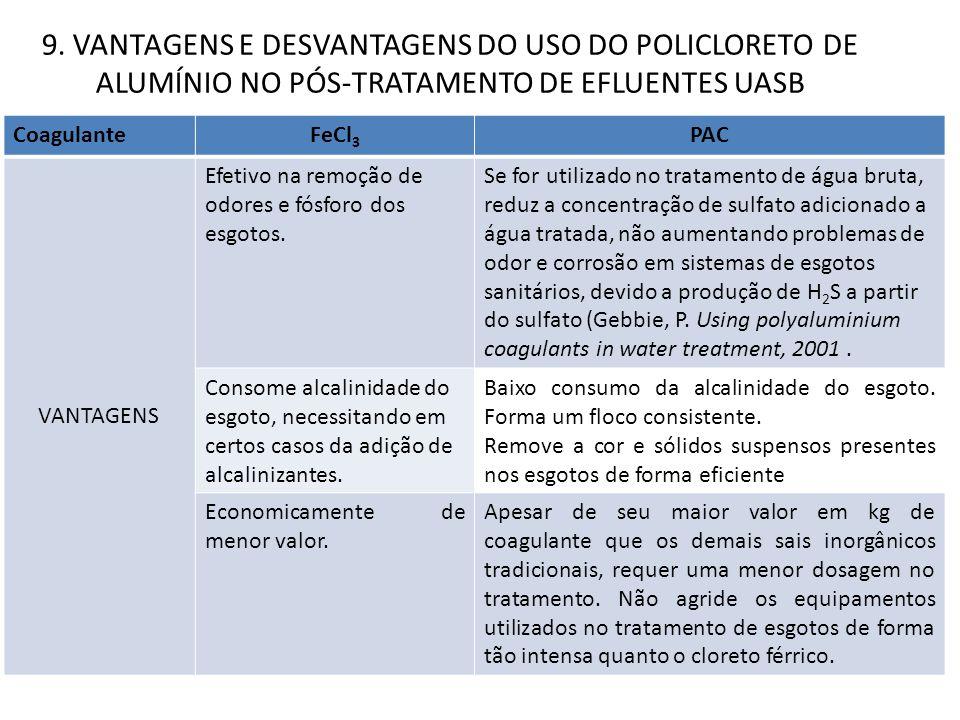 CoagulanteFeCl 3 PAC VANTAGENS Efetivo na remoção de odores e fósforo dos esgotos. Se for utilizado no tratamento de água bruta, reduz a concentração