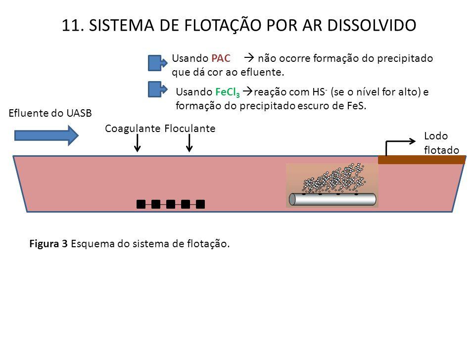11. SISTEMA DE FLOTAÇÃO POR AR DISSOLVIDO Efluente do UASB Usando PAC  não ocorre formação do precipitado que dá cor ao efluente. Usando FeCl 3  rea