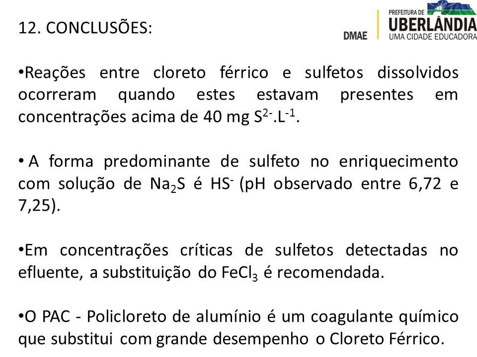 12. CONCLUSÕES: Reações entre cloreto férrico e sulfetos dissolvidos ocorreram quando estes estavam presentes em concentrações acima de 40 mg S 2-.L -