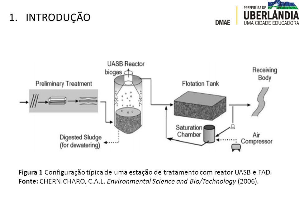 1.INTRODUÇÃO Figura 1 Configuração típica de uma estação de tratamento com reator UASB e FAD. Fonte: CHERNICHARO, C.A.L. Environmental Science and Bio