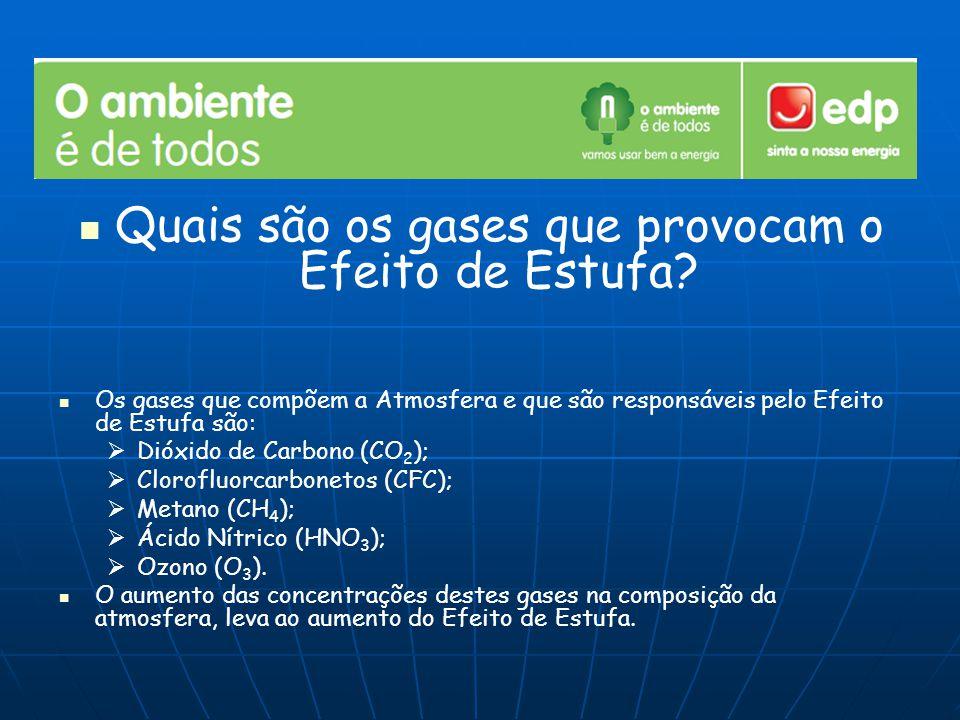 Quais são os gases que provocam o Efeito de Estufa? Os gases que compõem a Atmosfera e que são responsáveis pelo Efeito de Estufa são:   Dióxido de