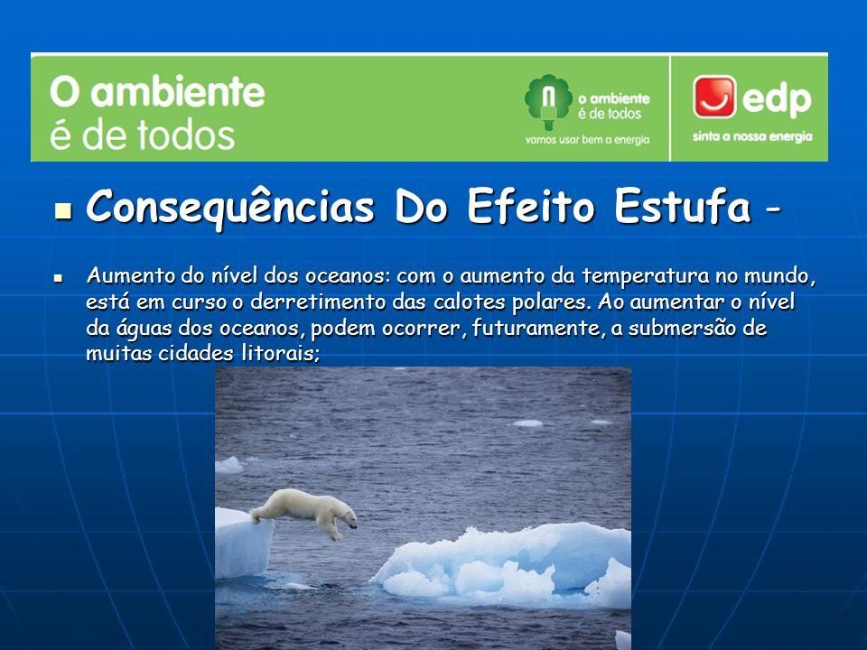 Consequências Do Efeito Estufa - Consequências Do Efeito Estufa - Aumento do nível dos oceanos: com o aumento da temperatura no mundo, está em curso o