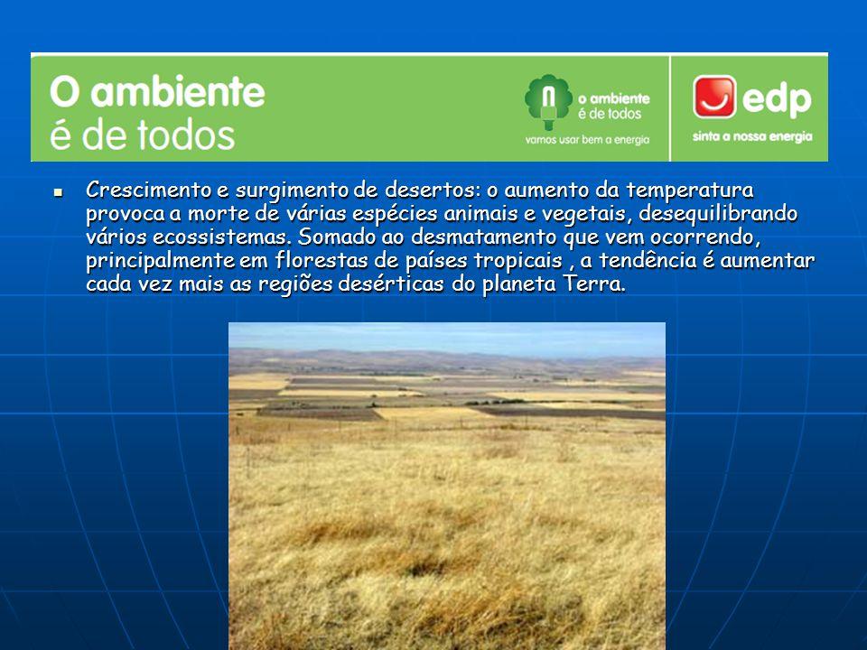 Crescimento e surgimento de desertos: o aumento da temperatura provoca a morte de várias espécies animais e vegetais, desequilibrando vários ecossiste