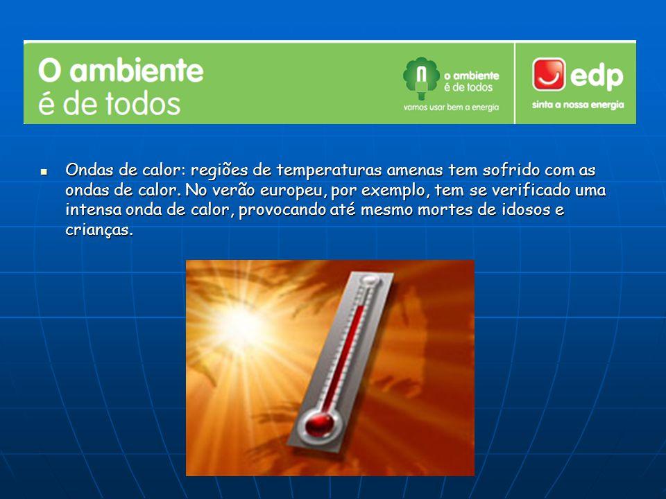 Ondas de calor: regiões de temperaturas amenas tem sofrido com as ondas de calor. No verão europeu, por exemplo, tem se verificado uma intensa onda de