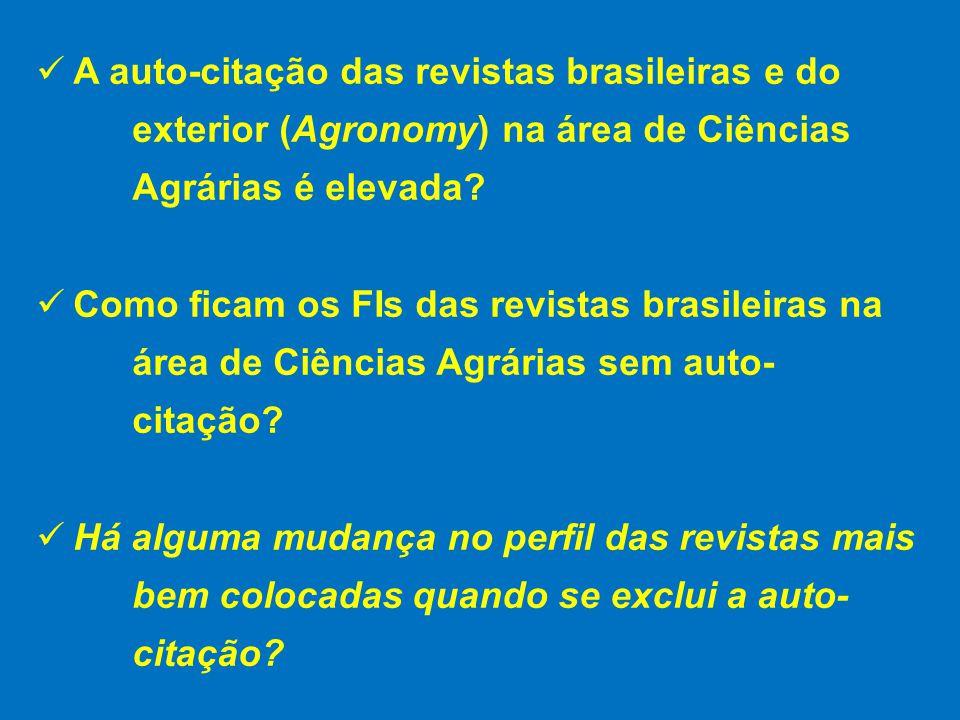 A auto-citação das revistas brasileiras e do exterior (Agronomy) na área de Ciências Agrárias é elevada.