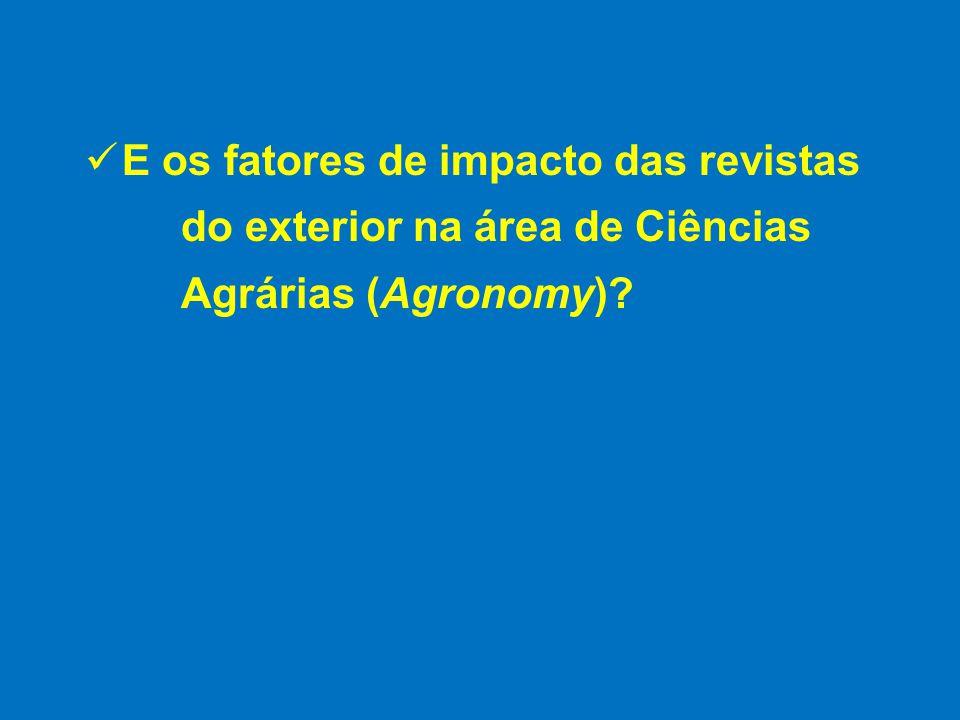 E os fatores de impacto das revistas do exterior na área de Ciências Agrárias (Agronomy)