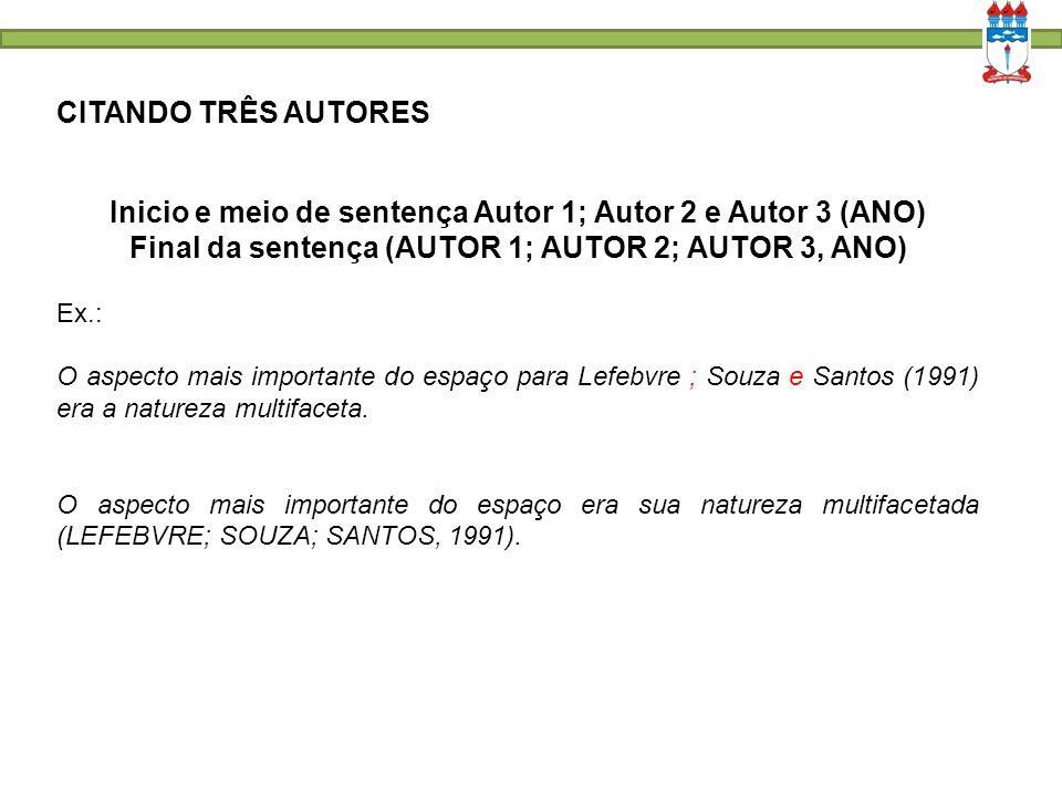 CITANDO TRÊS AUTORES Inicio e meio de sentença Autor 1; Autor 2 e Autor 3 (ANO) Final da sentença (AUTOR 1; AUTOR 2; AUTOR 3, ANO) Ex.: O aspecto mais importante do espaço para Lefebvre ; Souza e Santos (1991) era a natureza multifaceta.