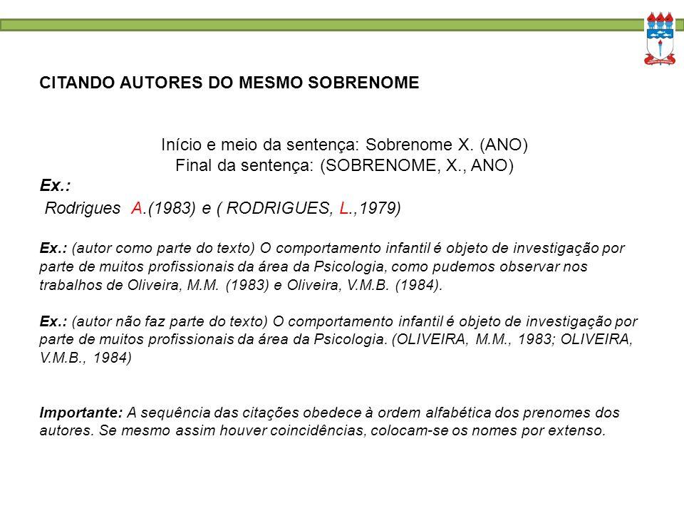 CITANDO AUTORES DO MESMO SOBRENOME Início e meio da sentença: Sobrenome X. (ANO) Final da sentença: (SOBRENOME, X., ANO) Ex.: Rodrigues A.(1983) e ( R