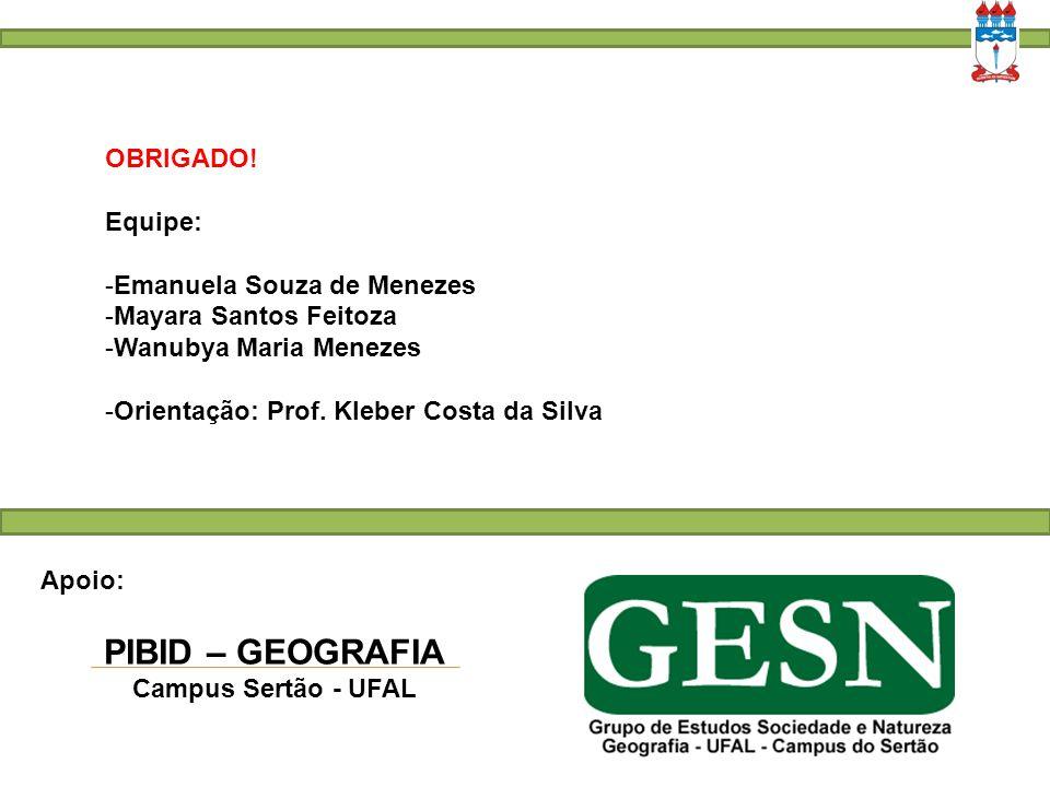 OBRIGADO! Equipe:  Emanuela Souza de Menezes  Mayara Santos Feitoza  Wanubya Maria Menezes -Orientação: Prof. Kleber Costa da Silva Apoio: PIBID –
