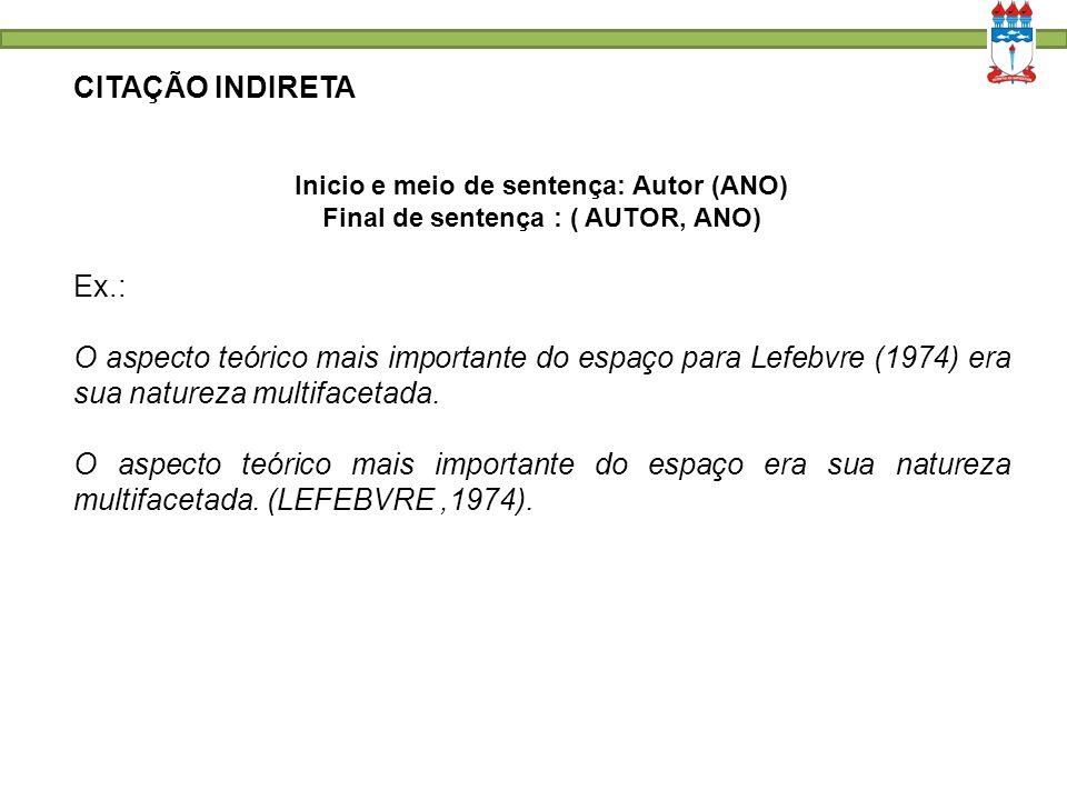 CITAÇÃO INDIRETA Inicio e meio de sentença: Autor (ANO) Final de sentença : ( AUTOR, ANO) Ex.: O aspecto teórico mais importante do espaço para Lefebvre (1974) era sua natureza multifacetada.