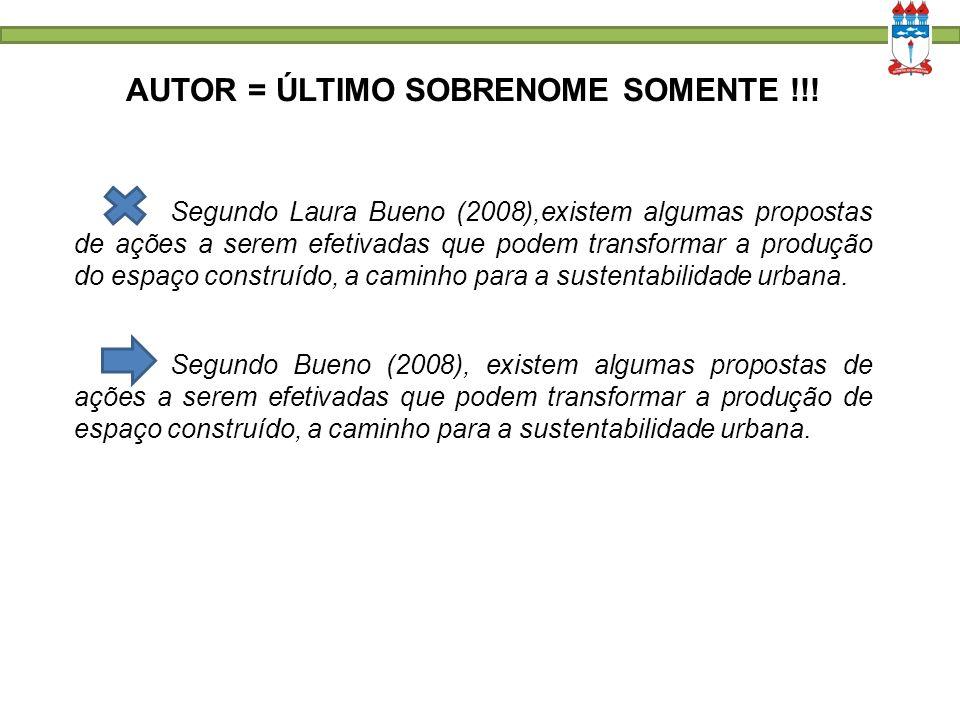 AUTOR = ÚLTIMO SOBRENOME SOMENTE !!! Segundo Laura Bueno (2008),existem algumas propostas de ações a serem efetivadas que podem transformar a produção