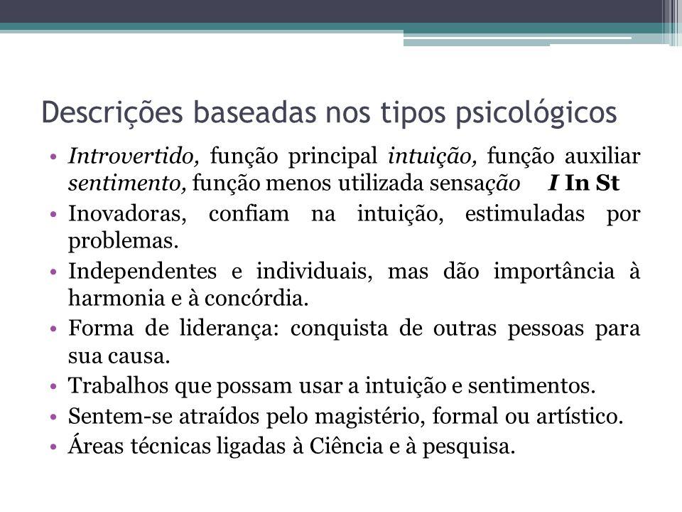 Descrições baseadas nos tipos psicológicos Introvertido, função principal intuição, função auxiliar sentimento, função menos utilizada sensação I In St Inovadoras, confiam na intuição, estimuladas por problemas.
