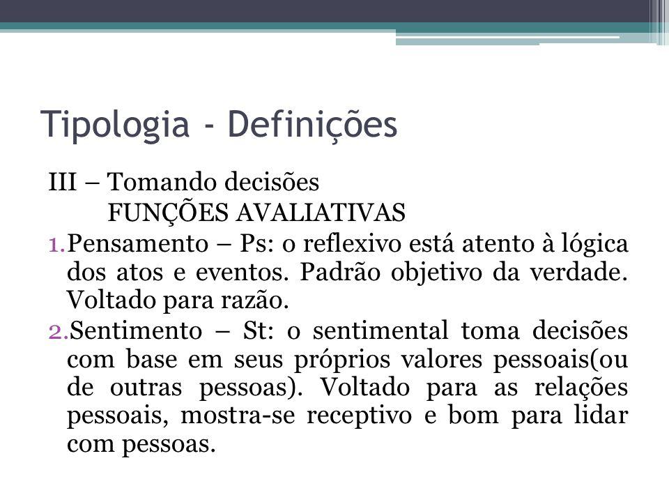 Tipologia - Definições III – Tomando decisões FUNÇÕES AVALIATIVAS 1.Pensamento – Ps: o reflexivo está atento à lógica dos atos e eventos.