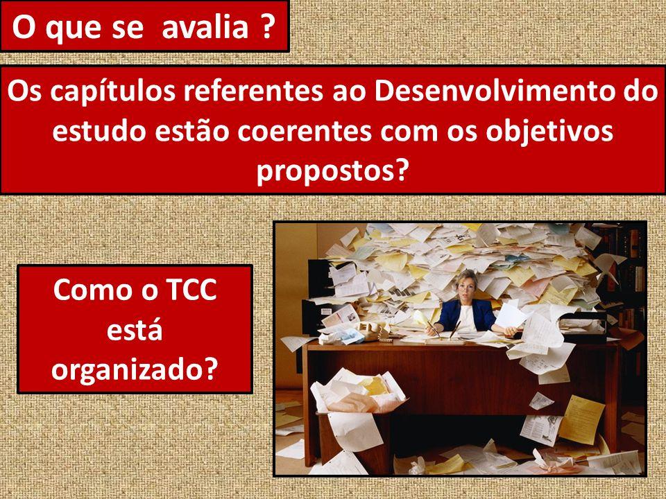 O que se avalia ? A fundamentação teórica do estudo foi apresentada no TCC?
