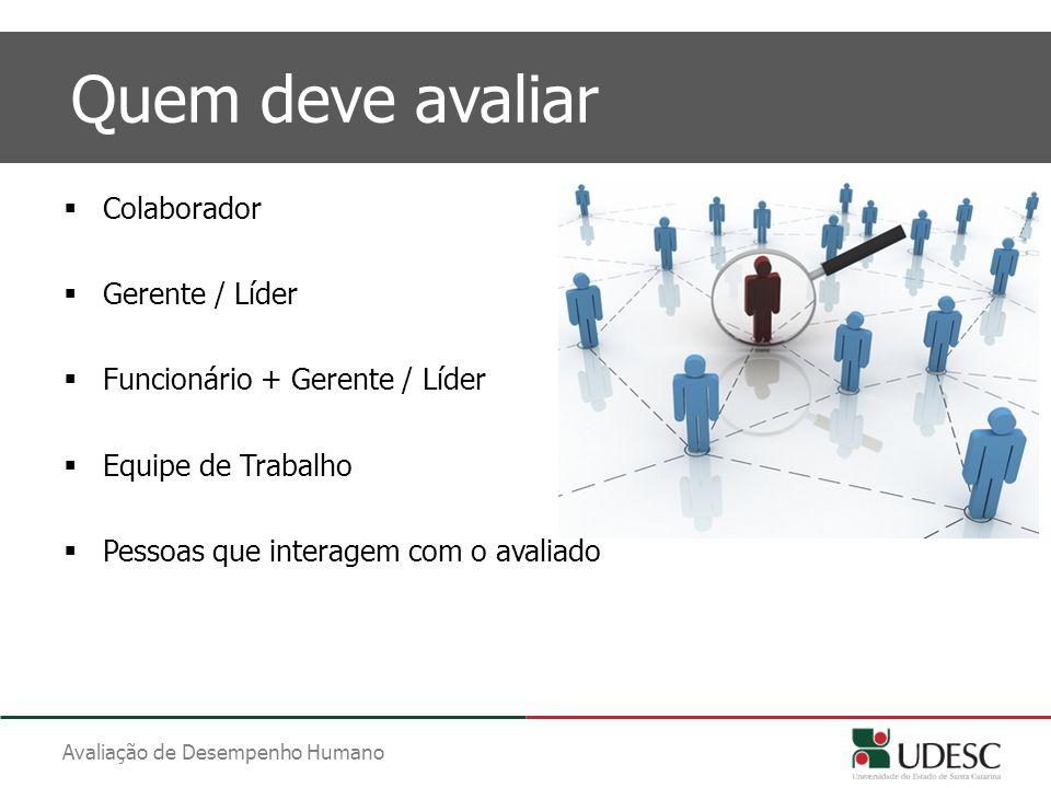 Avaliação de Desempenho Humano Quem deve avaliar  Colaborador  Gerente / Líder  Funcionário + Gerente / Líder  Equipe de Trabalho  Pessoas que in