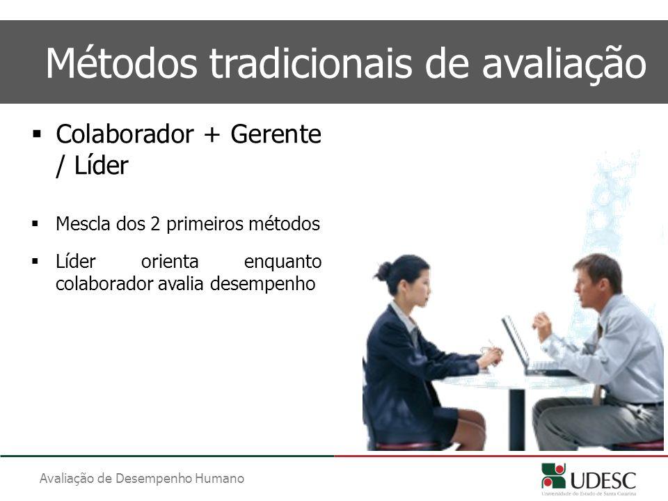 Avaliação de Desempenho Humano Métodos tradicionais de avaliação  Colaborador + Gerente / Líder  Mescla dos 2 primeiros métodos  Líder orienta enqu