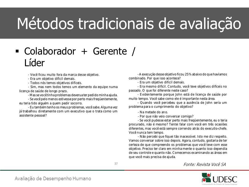 Avaliação de Desempenho Humano Métodos tradicionais de avaliação  Colaborador + Gerente / Líder Fonte: Revista Você SA